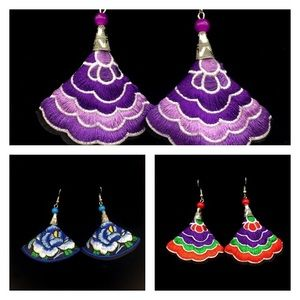 Jewelry - Embroidered Floral earrings