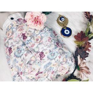 Vintage Boho Floral High Waisted Denim Skirt SM