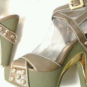 MARC by MARC JACOBS Green Chunky Heels Sz 7.5