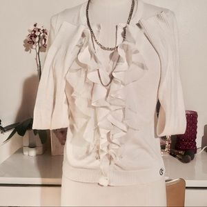 Gilly Hicks Cream Ruffles & Pearl Buttons Cardigan