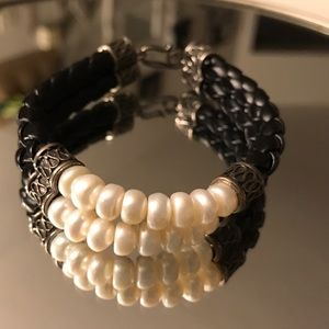 Jewelry - Leather/ pearl  bracelet stamped 925