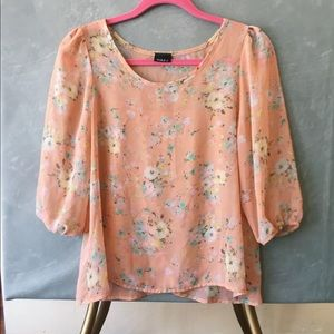 Tops - Light pink floral blouse