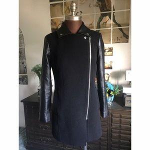 Jackets & Coats - black leather/wool motorcycle jacket