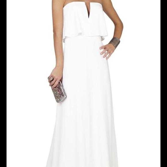 be08f9429593c BCBG Alyse White Strapless Maxi Dress Gown
