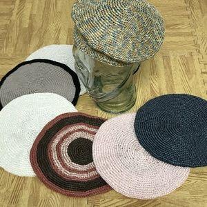 Accessories - Set Of 7 Hand Crocheted Berets Caps Hats