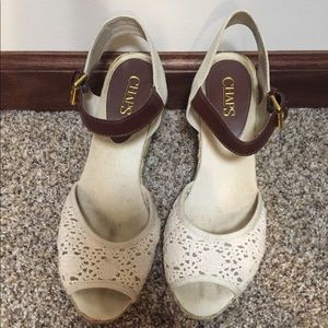 Wedge heels (cream color with crocheted top)
