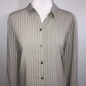J. Jill Woman's Shirt XL Gray Black Striped