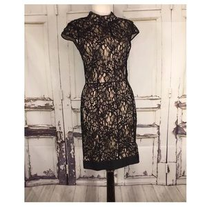 Andrew Marc Dress Lace Black Nude Mock Neck 4
