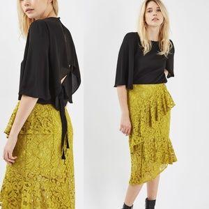 NWT TopShop Yellow Lace Ruffle Midi Skirt Size 10
