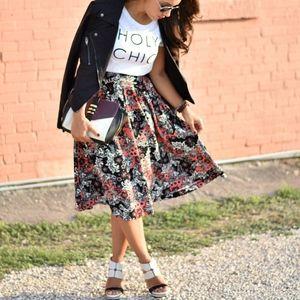 H&M Black Pink Floral Print Full Midi Skirt