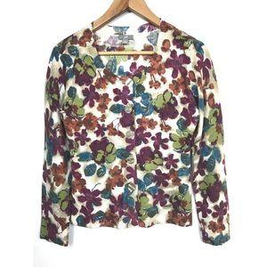 J. Jill Floral Button Cardigan Wool Sweater, Small