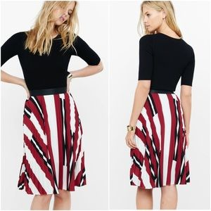 Express Red Striped High Waist Pleated Midi Skirt