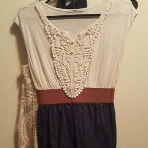 Crocheted white and denim blue belted dress