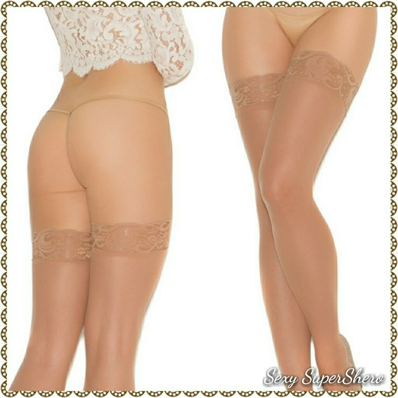 2cd3e223b Nude Sheer Lace Top Thigh-highs lingerie stocki. Boutique. Sexy SuperShero