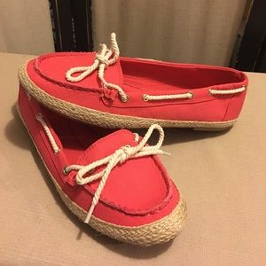 Laura Scott Coral Canvas Boat Shoes