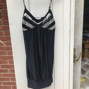 Black satin party dress
