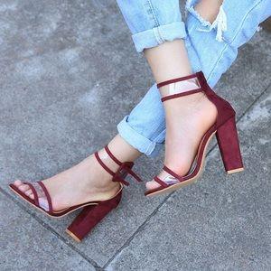 Coming soon ! Burgundy Clear strap heels.