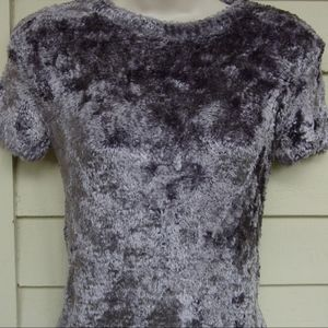ANNE KLEIN gray silky shag rayon sweater! PS