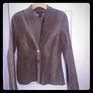 leather Karen Kane sueded peplum v-neck jacket