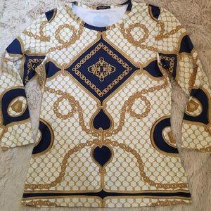 J, McLaughin chain design blouse