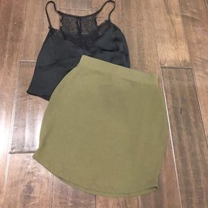 ASOS Olive Green Cotton Mini Skirt