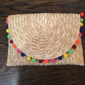 Handbags - Straw Pom Pom clutch/purse NEW!