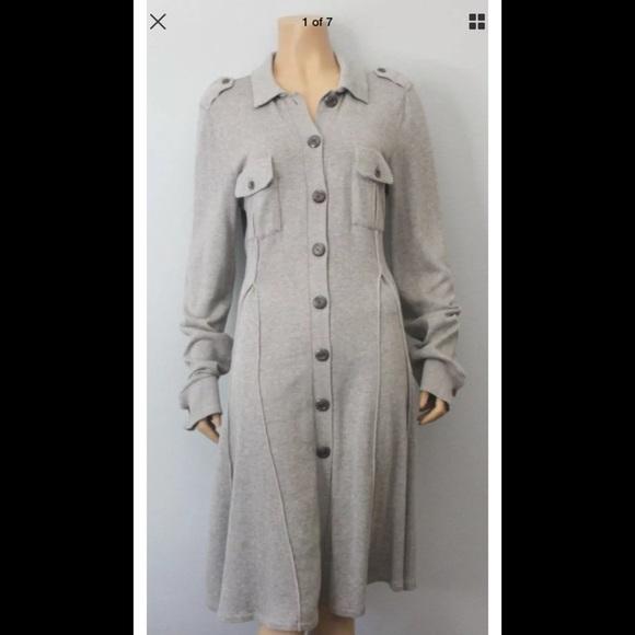 Free People Dresses Gray Button Down Sweater Dress Xs Poshmark