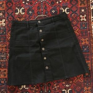 High Waisted Black Denim Skirt with Buttons