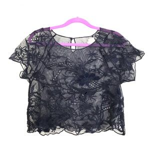 Anthropologie sheer embroidered crop top
