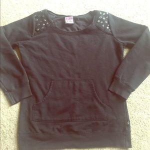 Sweaters - Black Studded Crewneck Sweatshirt