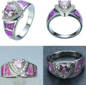 Jewelry - 🆕 18K white gold plated-pink opal ring size 6