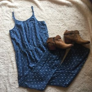 Pants - Spaghetti strap polka dot chambray jumper