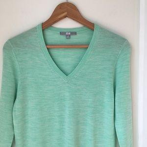 Uniqlo Mint Green Heathered Vneck Wool Sweater