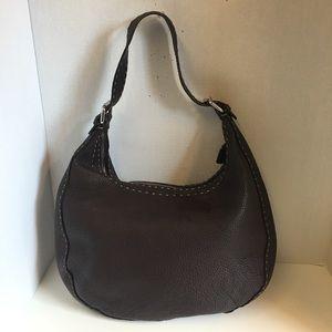 Fendi brown leather selleria shoulder bag