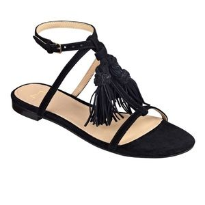 NEW Marc Fisher LTD Black Suede T- Style Sandals