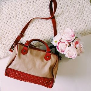 Steve Madden | red and tan faux leather bag
