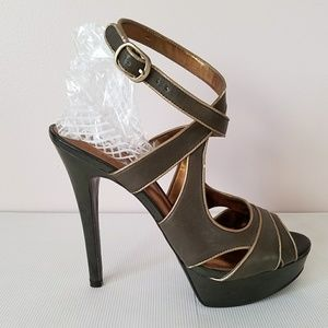"Guess ""Kinetic"" Olive ankle strap high heel"