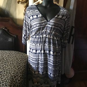 Elephant print Egyptian style dress cold shoulder