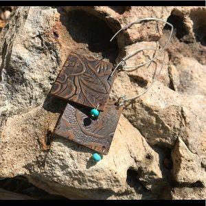 "Jewelry - 3"" Tooled  vintage look leather/silver hooks"