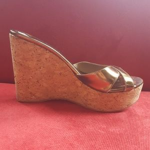 {jimmy choo} 💕 Gold Cork Bottom Wedge Sandals