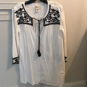 Denim and supply embroidered tunic