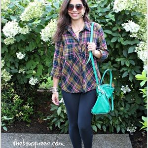 Free People Plaid Shirt with Shoulder Detail