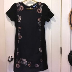 Vera Wang black shift dress with floral pattern
