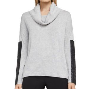 NWOT BCBG cowl neck sweater with leather accent