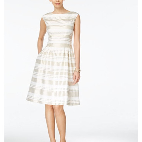 Vince Camuto Dresses | Gold And White Strip Dress | Poshmark