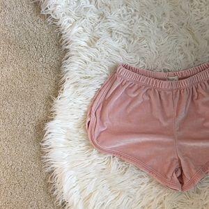 • Brandy Melville Pink Velvet Shorty Shorts •