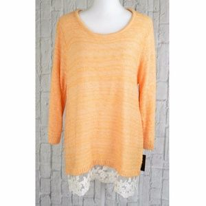 Womens Lace-Hem Marled Pullover Soft knit Sweater