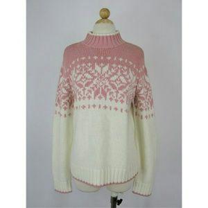St John's Bay Sequine Snowflake Sweater L
