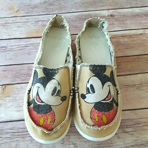 CROCS Shoes | Disney Mickey Mouse Canvas Slip On Loafers | Poshmark
