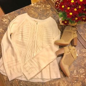 NWT Mystree SzL cream cable zip up peplum sweater